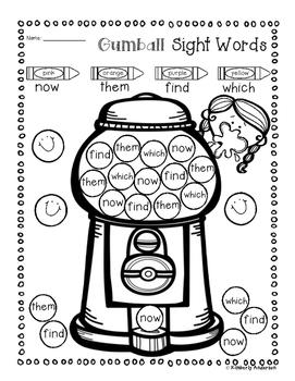 Bubble Gum Sight Word Mega Bundle Practice (Primer / 1st Grade)