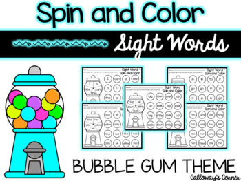 Bubble Gum Spin and Color SIGHT WORD EDITION