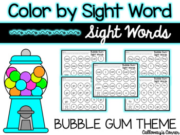 Bubble Gum Color by Sight Word