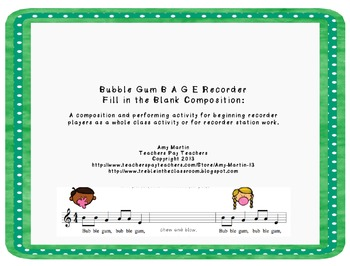 Bubble Gum Themed BAGE Recorder Stations and Worksheets