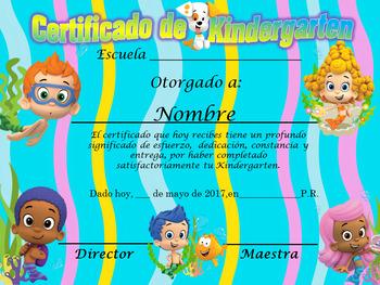 Bubble Guppies Achievement  Award complete editable!!! English & Spanish version