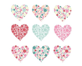 Bubble Heart Clipart, Valentines Day, Hearts Clipart, Bubble Heart Set #004