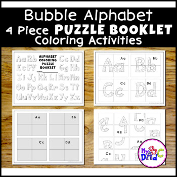 color the alphabet bubble letter puzzle book