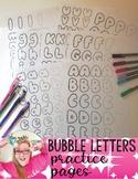 Bubble Letter Practice Printable Worksheets