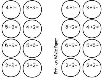 Bubble Math Craft - Editable