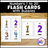 Bubble Numbers 1-20 Flash Cards