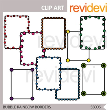 Bubble Rainbow Borders / commercial use clip art / seller toolkit resource