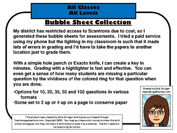 Bubble Sheet - 100 questions Multiple choice