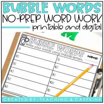 Bubble Spelling {A NO PREP word work activity}