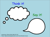 Bubble Thoughts Lesson: Think it! or Say it!