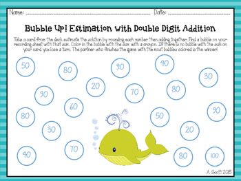 Addition Estimation Math Center Games