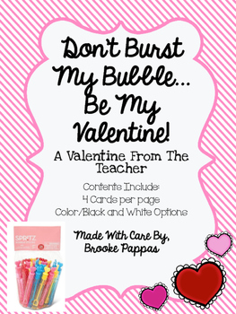 Bubble Valentine From The Teacher