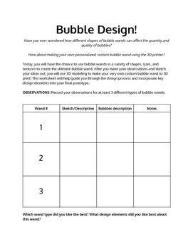 Bubble Wand Design Project