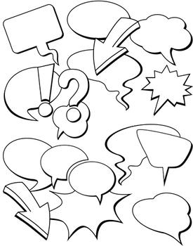 Bubble speech clipart 37 png black white commercial use, Bundle