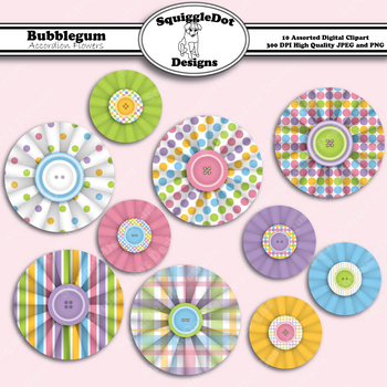 Bubblegum Accordion Flowers Clip Art