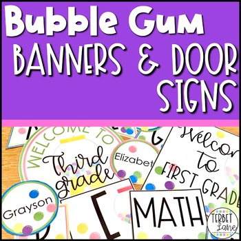 Bubblegum Banners, Bulletin Board and Editable Door Decor