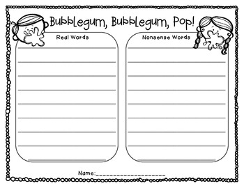 Bubblegum, Bubblegum, Pop!  A CVC Real and Nonsense Word Game & Sort