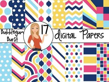 Bubblegum Burst ~ 17 Digital Background Papers {8.5 x 11} Clip Art CU OK