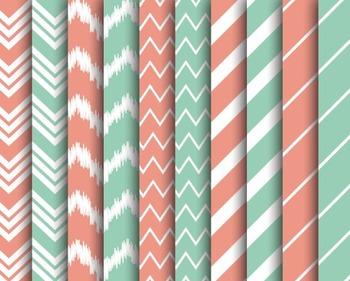 Bubblegum Chevron Papers, Digital Papers, Striped Papers, Chevron Paper Set #039