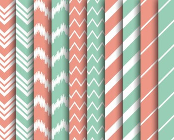 Bubblegum Chevron Papers, Digital Papers, Striped Papers,