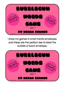Bubblegum Sight Word Game: Set 1 - F&P First 25 plus extra