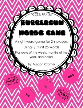 Bubblegum Sight Word Game: Set 1 - F&P First 25 plus extra