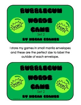 Bubblegum Sight Word Game: Set 2 - F&P Next 50 words