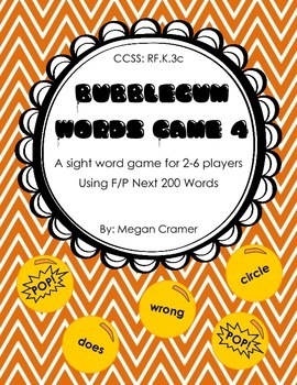 Bubblegum Sight Word Game: Set 4 - F&P Next 200 words