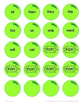 Bubblegum Sight Word Game: Sets 1-4 F&P 25, 50, 100, 200