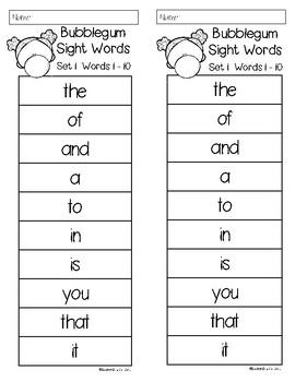 Bubblegum Sight Words