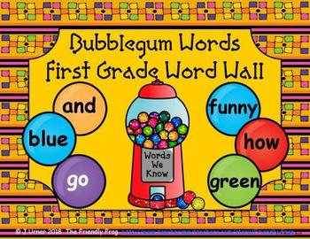 Bubblegum Words First Grade Word Wall