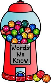 Bubblegum Words Primer Word Wall