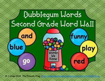Bubblegum Words Second Grade Word Wall