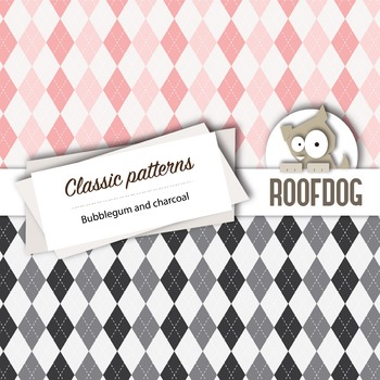 Bubblegum and charcoal classic patterns—argyle, houndstooth, chevrons, gingham