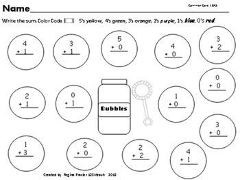 Addition & Subtraction Math Bundle Bubble Theme