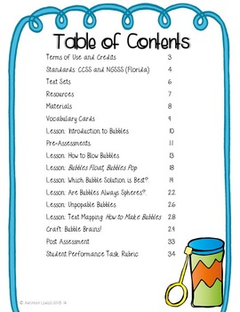 Bubbles! An Inquiry Based Science Unit CCSS Aligned Reading & Writing