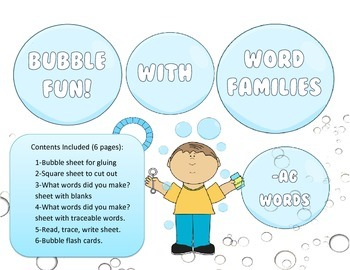 Bubbles, Bubbles - AG Word Family Activity/Project Set