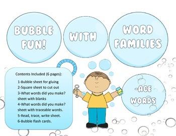 Bubbles, Bubbles - ACE Word Family Activity/Project Set