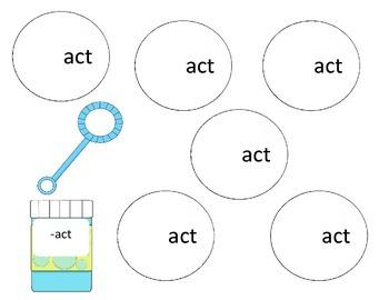 Bubbles, Bubbles - ACT Word Family Activity/Project Set