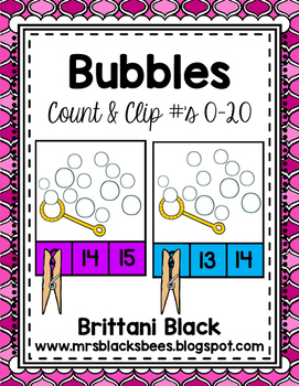 Bubbles~ Clip Cards~ Numbers 0-20