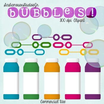 Bubbles Clipart, Fun Summer Bubbles and Wands