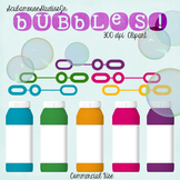 Bubbles Clipart, Fun Summer Bubbles and Wands