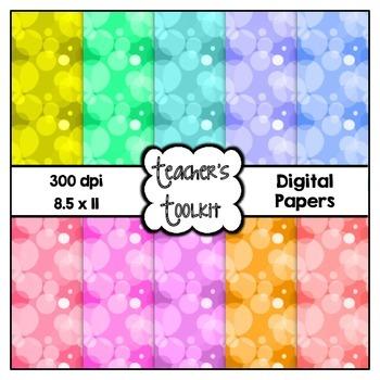 Bubbles Digital Background Papers {8.5 x 11} Clip Art CU OK