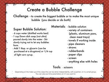Bubbles  Reading and Make a Unique Bubble  STEM Challenge for Upper Elementary