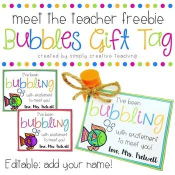 Bubbles Meet the Teacher Gift Tag
