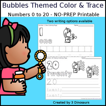 Bubbles Themed Number Color and Trace