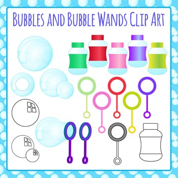 Bubbles and Bubble Wands Clip Art Pack for Commercial Use
