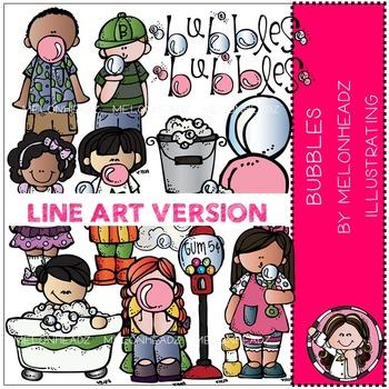 Melonheadz: Bubbles clip art - LINE ART