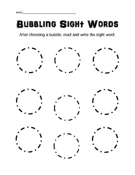 Bubbling Sight Words