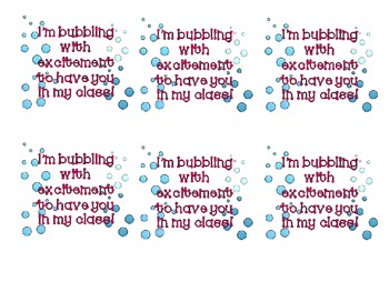 Bubbling With Excitement Gift Labels